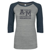 ENZA Ladies Athletic Heather/Navy Vintage Triblend Baseball Tee-Primary Mark Graphite Glitter