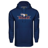 Under Armour Navy Performance Sweats Team Hoodie-Eagle Head w/ Eagles
