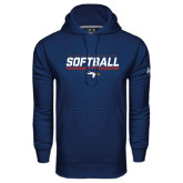 Under Armour Navy Performance Sweats Team Hoodie-Softball Stencil Flat