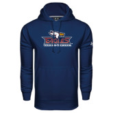 Under Armour Navy Performance Sweats Team Hoodie-Eagle Head w/ Eagles Stacked