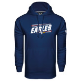 Under Armour Navy Performance Sweats Team Hoodie-Slanted Texas A&M-Texarkana Eagles
