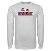White Long Sleeve T Shirt-Eagle Head w/ Eagles