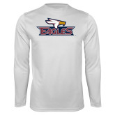 Performance White Longsleeve Shirt-Eagle Head w/ Eagles
