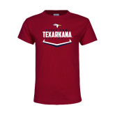 Youth Maroon T Shirt-Texarkana Baseball Plate Stacked