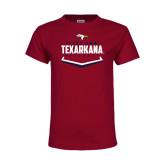 Youth Maroon T Shirt-Texarkana Baseball Plate Stacked