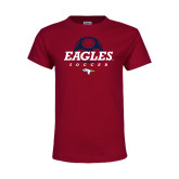 Youth Maroon T Shirt-Eagles Soccer Half Ball