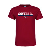 Youth Maroon T Shirt-Softball Stencil Flat