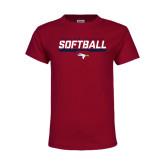Youth Maroon T Shirt-Softball Stencil Flat