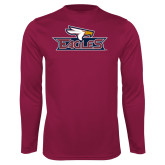 Performance Maroon Longsleeve Shirt-Eagle Head w/ Eagles