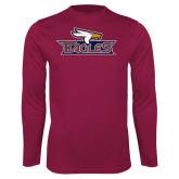 Syntrel Performance Maroon Longsleeve Shirt-Eagle Head w/ Eagles