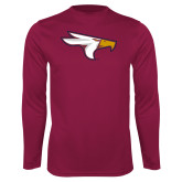 Performance Maroon Longsleeve Shirt-Eagle Head