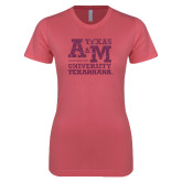 Next Level Ladies SoftStyle Junior Fitted Pink Tee-Primary Mark Pink Glitter