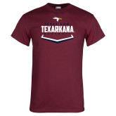 Maroon T Shirt-Texarkana Baseball Plate Stacked