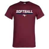 Maroon T Shirt-Softball Stencil Flat