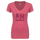 Next Level Ladies Vintage Pink Tri Blend V-Neck Tee-Primary Mark Hot Pink Glitter