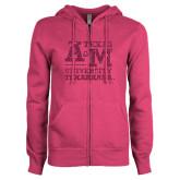 ENZA Ladies Fuchsia Fleece Full Zip Hoodie-Primary Mark Hot Pink Glitter