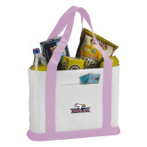Contender White/Pink Canvas Tote-Eagle Head w/ Eagles