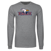 Grey Long Sleeve T Shirt-Eagle Head w/ Eagles