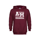 Youth Maroon Fleece Hoodie-Primary Mark