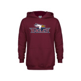 Youth Maroon Fleece Hoodie-Eagle Head w/ Eagles