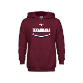 Youth Maroon Fleece Hoodie-Texarkana Baseball Plate Stacked