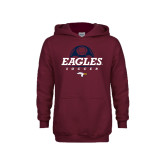Youth Maroon Fleece Hoodie-Eagles Soccer Half Ball