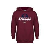 Youth Maroon Fleece Hoodie-Eagles Soccer Half Ball
