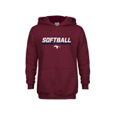 Youth Maroon Fleece Hoodie-Softball Stencil Flat