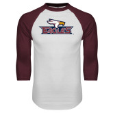 White/Maroon Raglan Baseball T Shirt-Eagle Head w/ Eagles