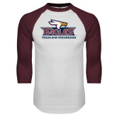 White/Maroon Raglan Baseball T Shirt-Eagle Head w/ Eagles Stacked