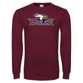Maroon Long Sleeve T Shirt-Eagle Head w/ Eagles