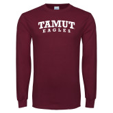 Maroon Long Sleeve T Shirt-Arched TAMUT Eagles