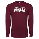 Maroon Long Sleeve T Shirt-Slanted Texas A&M-Texarkana Eagles