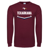 Maroon Long Sleeve T Shirt-Texarkana Baseball Plate Stacked