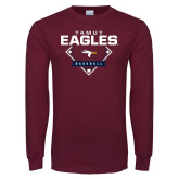 Maroon Long Sleeve T Shirt-TAMUT Eagles Baseball Diamond
