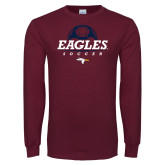 Maroon Long Sleeve T Shirt-Eagles Soccer Half Ball