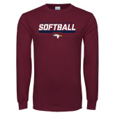 Maroon Long Sleeve T Shirt-Softball Stencil Flat