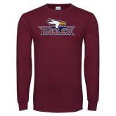 Maroon Long Sleeve T Shirt-Eagle Head w/ Eagles, Custom Tee w/ Name and #