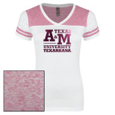 Ladies White/Bright Pink Juniors Varsity V Neck Tee-Primary Mark Foil