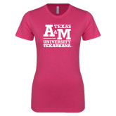 Next Level Ladies SoftStyle Junior Fitted Fuchsia Tee-Primary Mark