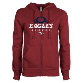 ENZA Ladies Maroon Fleece Full Zip Hoodie-Eagles Soccer Half Ball