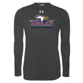 Under Armour Carbon Heather Long Sleeve Tech Tee-Eagle Head w/ Eagles Stacked