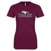 Next Level Ladies SoftStyle Junior Fitted Maroon Tee-Eagle Head w/ Eagles
