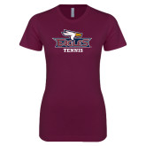 Next Level Ladies SoftStyle Junior Fitted Maroon Tee-Tennis
