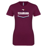 Next Level Ladies SoftStyle Junior Fitted Maroon Tee-Texarkana Baseball Plate Stacked