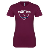 Next Level Ladies SoftStyle Junior Fitted Maroon Tee-TAMUT Eagles Baseball Diamond