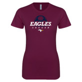 Next Level Ladies SoftStyle Junior Fitted Maroon Tee-Eagles Soccer Half Ball