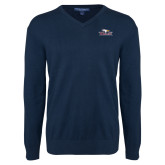 Classic Mens V Neck Navy Sweater-Eagle Head w/ Eagles
