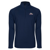 Sport Wick Stretch Navy 1/2 Zip Pullover-Eagle Head w/ Eagles