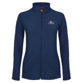 Ladies Fleece Full Zip Navy Jacket-Eagle Head w/ Eagles